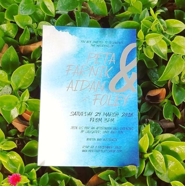wedding invitation blue and silver