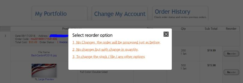 How to do a Reorder Reorder Options